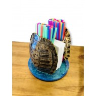 Turtle Shell Straw and Napkin Holder- Oceanic Green