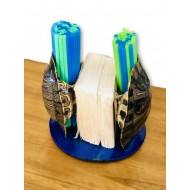 Turtle Shell Straw and Napkin Holder- Mystic Blue